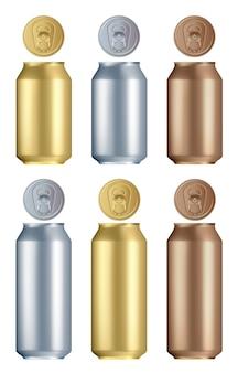 Puszka aluminiowa. izolowane puste złote, srebrne i brązowe aluminiowe lub stalowe puszki na napoje