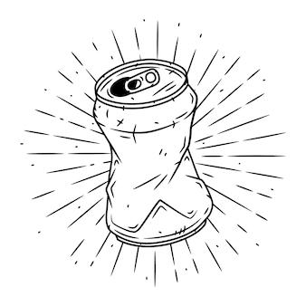 Puszka aluminiowa. ręcznie rysowane ilustracja z aluminiowej puszki i rozbieżne promienie.