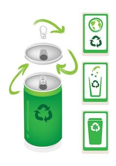 Puszka aluminiowa z symbolem recyklingu i koszem na śmieci