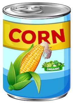 Puszka organicznej kukurydzy