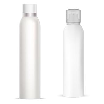 Puszka z aerozolem, aluminiowa butelka dezodorantu w sprayu, tuba cylindra z odświeżaczem, metalowe realistyczne opakowanie