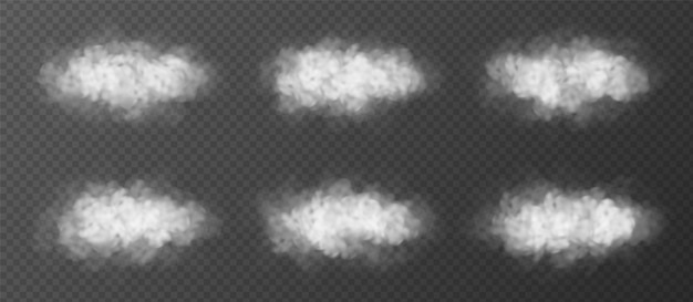 Puszyste chmury ustawiać odizolowywać. kolekcja elementów realistyczne wektor. efekt specjalny mgły lub dymu.