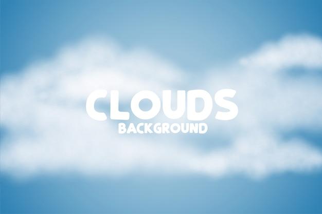 Puszysty chmury tło na błękitnym skye