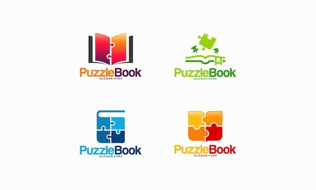 Puzzle book logo projektuje wektor koncepcyjny, szablon logo edukacji dzieci i gier