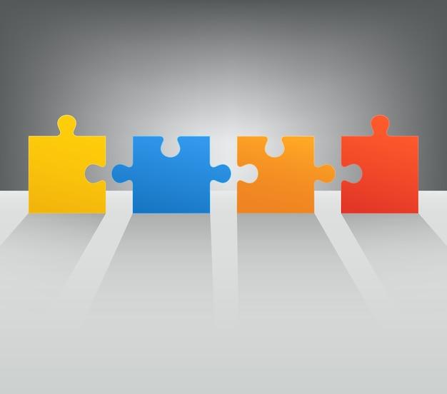 Puzzle części z długimi cieniami kolorowe abstrakcyjne metafory koncepcja biznesowa reklama internetowa