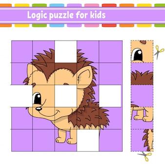Puzzle dla dzieci. arkusz rozwijający edukację. jeż. gra edukacyjna dla dzieci.