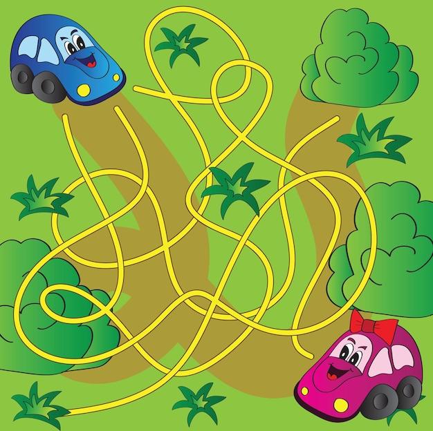 Puzzle dla dzieci - prosty labirynt - jasna ilustracja wektorowa