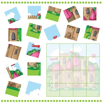 Puzzle dla dzieci z zamkiem z kreskówek