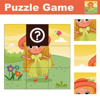 Puzzle gra edukacyjna dla dzieci w wieku przedszkolnym z bajkową postacią ilustracji wektorowych