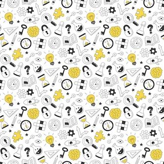 Puzzle i zagadki. ręcznie rysowane wzór z krzyżówką, labiryntem, mózgiem, szachownicą, żarówką, labiryntem, biegiem, zamkiem i kluczem.