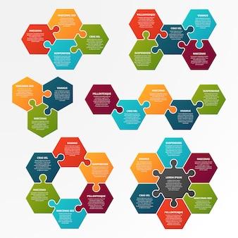 Puzzle infografika. opcjonalny proces, infocharts przepływu pracy z puzzlami.