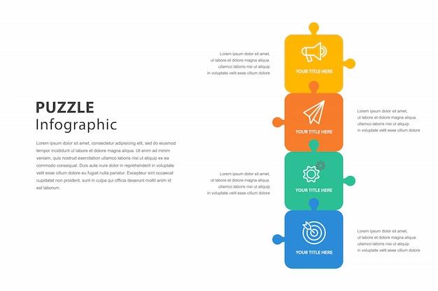 Puzzle infografika z krokiem, wykres opisujący kroki