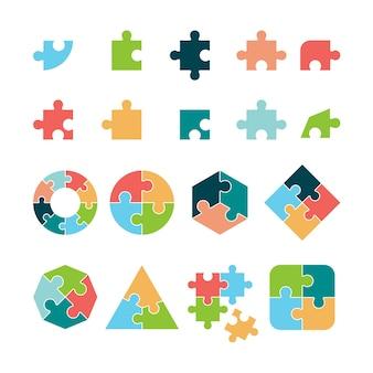 Puzzle. jigsaw niekompletne piktogramy puzzle formy geometryczne obiekty biznesowe. układanka, rozwiązanie i ilustracja kawałek kształtu gry