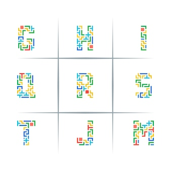 Puzzle piece letter logo design set