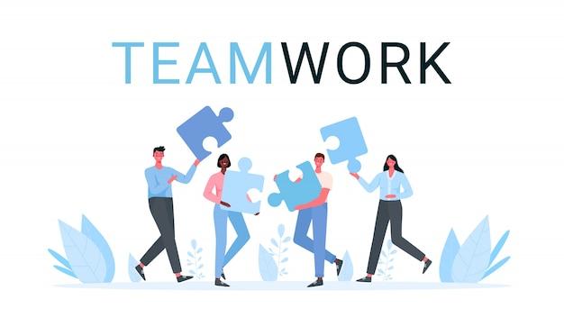 Puzzle praca zespołowa. pomysł na biznes.