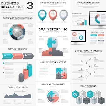 Puzzle sztuk infografiki wektora biznesu zestaw ikon metafora