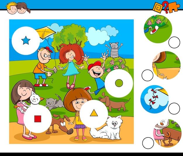 Puzzle z dziećmi i zwierzętami domowymi