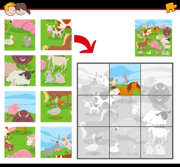 Puzzle z grupą zwierząt gospodarskich