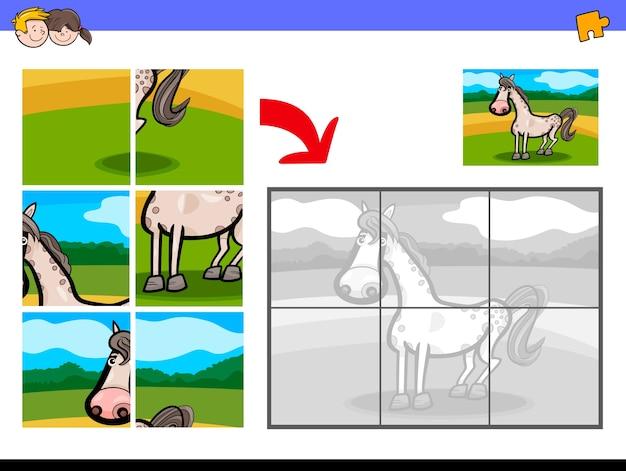 Puzzle z końskim gospodarstwem rolnym