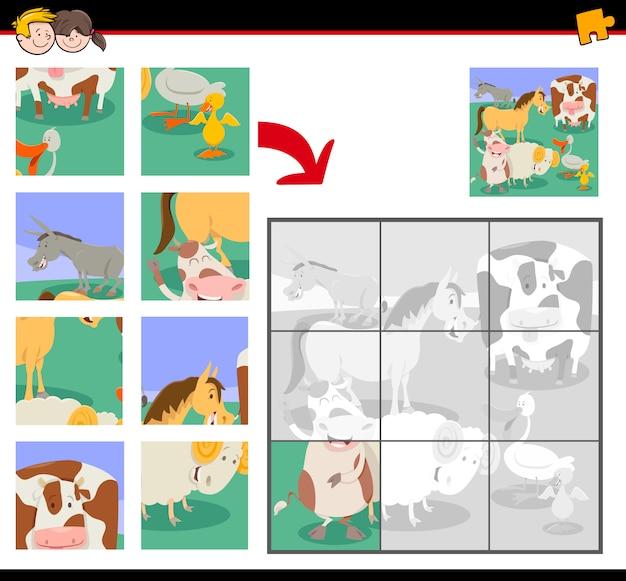 Puzzle z uroczymi zwierzętami gospodarskimi