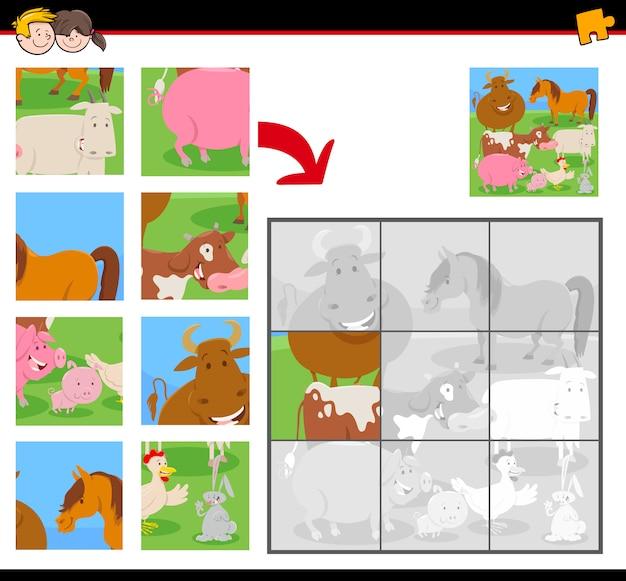 Puzzle z zabawnymi zwierzętami gospodarskimi