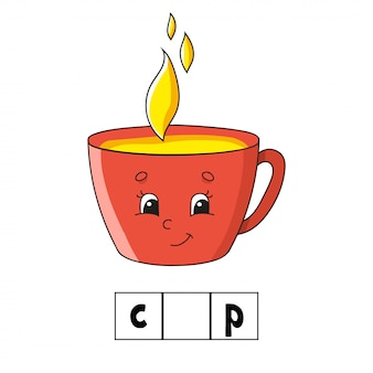 Puzzle ze słowami. puchar. arkusz rozwijający edukację. gra edukacyjna dla dzieci.
