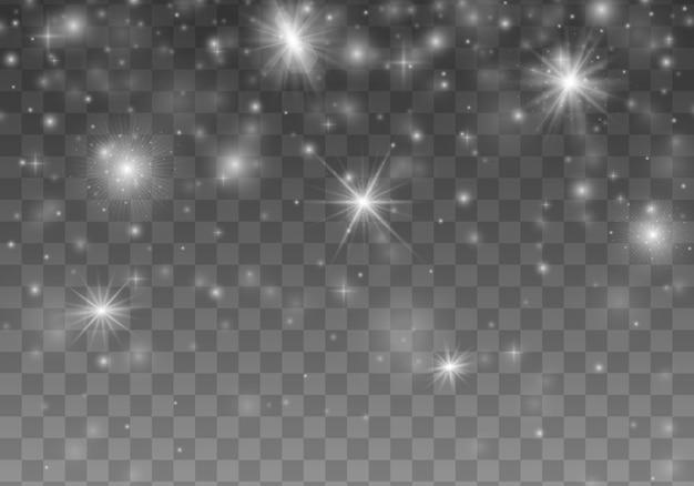 Pył biały. lśniące magiczne drobinki kurzu bożego narodzenia.