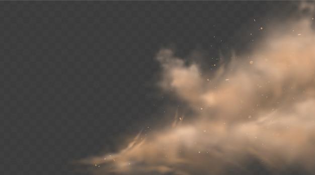 Pył chmury piasek z kamieniami i latającymi zakurzonymi cząsteczkami odizolowywać