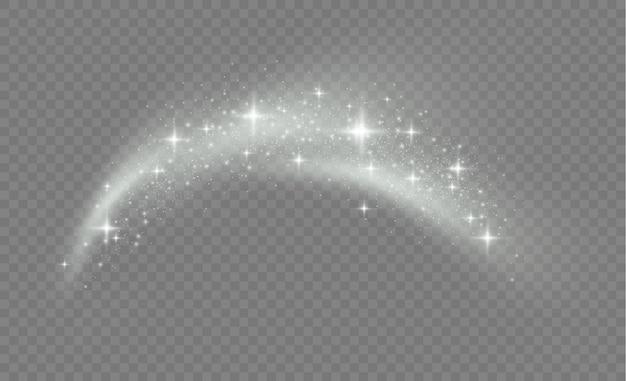 Pył gwiezdny iskrzy podczas eksplozji. białe iskry błyszczą specjalnym efektem świetlnym. biały brokat tekstura tło boże narodzenie. lśniące magiczne cząsteczki kurzu.