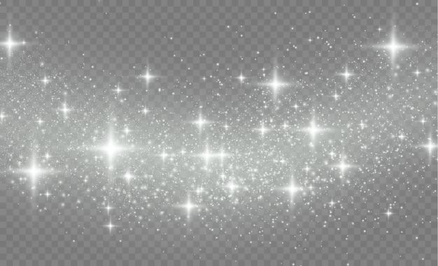 Pył gwiezdny iskrzy podczas eksplozji. błyszczą białe iskry.