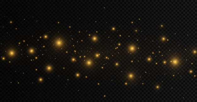 Pył iskry i złote gwiazdy świecą specjalnym światłem świecącym żółtymi kręgami bokeh