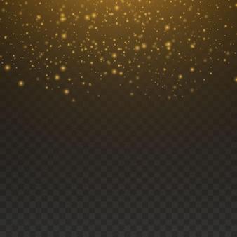 Pył jest żółty. żółte iskry i złote gwiazdy świecą specjalnym światłem. wektor błyszczy na przezroczystym tle. świąteczny efekt świetlny. błyszczące magiczne cząsteczki kurzu.