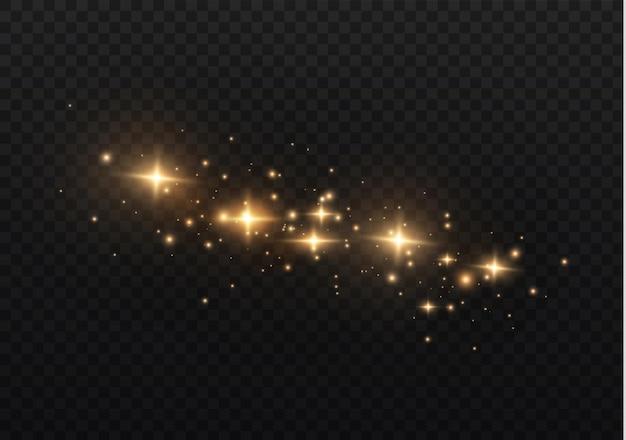 Pył jest żółty. żółte iskry i złote gwiazdy świecą specjalnym światłem.