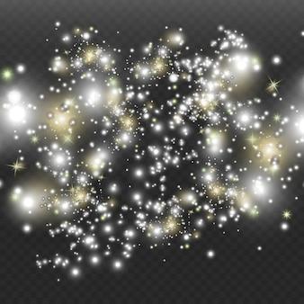 Pył kosmiczny na przezroczystym tle. fascynujące błyski gwiazd, lśniący pył.