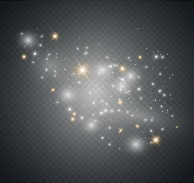Pył na przezroczystym tle. jasne gwiazdy