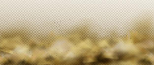Pyłowa chmura piasku, brązowa mgła zanieczyszczenia powietrza lub dym