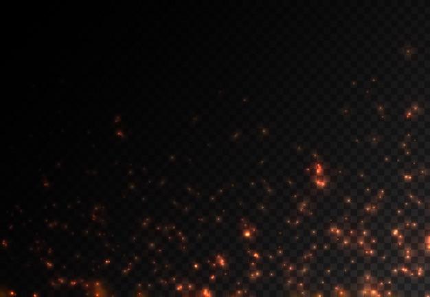 Pyłowe iskry i czerwone gwiazdy świecą specjalnymi jasnoczerwonymi błyszczącymi iskierkami