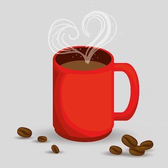 Pyszna filiżanka kawy z sercem