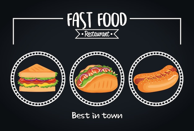 Pyszna karta menu restauracji szybkiej obsługi