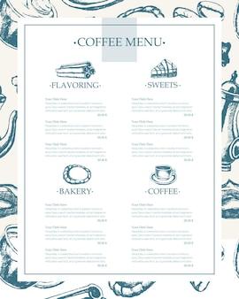 Pyszna kawa - monochromatyczne wektor ręcznie rysowane menu szablonu kompozytowego z copyspace. realistyczne prawoślaz, filiżanka, ciastko, młynek, czajniczek, ciasto, cukier, ziarna kawy, cynamon.