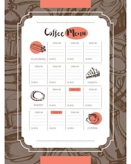 Pyszna kawa - wektor kolor ręcznie rysowane menu szablonu kompozytowego z copyspace. realistyczne prawoślaz, filiżanka, ciastko, młynek, czajniczek, ciasto, cukier, ziarna kawy, cynamon.