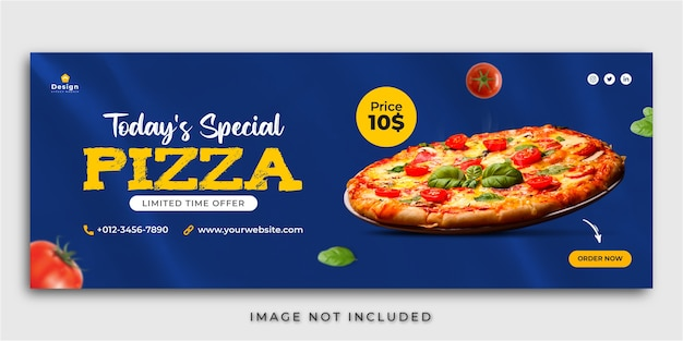 Pyszna pizza z menu i restauracja na facebooku okładka szablon postu