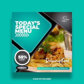 Pyszna restauracja oferuje specjalne menu żywności media społecznościowe post streszczenie szablon premii