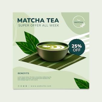 Pyszna ulotka z herbatą matcha w kwadraty