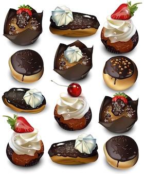 Pyszne ciasta wzór wektor realistyczne. muffin, babeczki i eklery