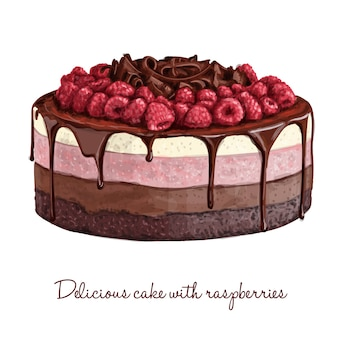 Pyszne ciasto z malinami