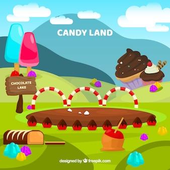 Pyszne cukierki ziemi tło w stylu płaski