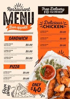 Pyszne cyfrowe menu restauracji pionowej
