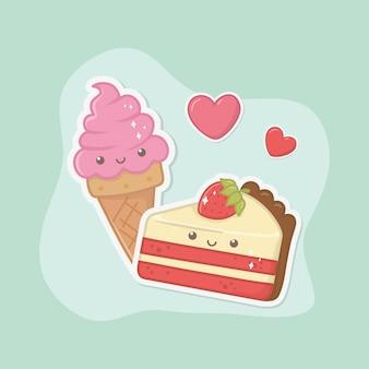 Pyszne i słodkie lody i produkty kawaii znaków