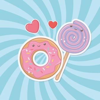Pyszne i słodkie pączki i produkty kawaii znaków